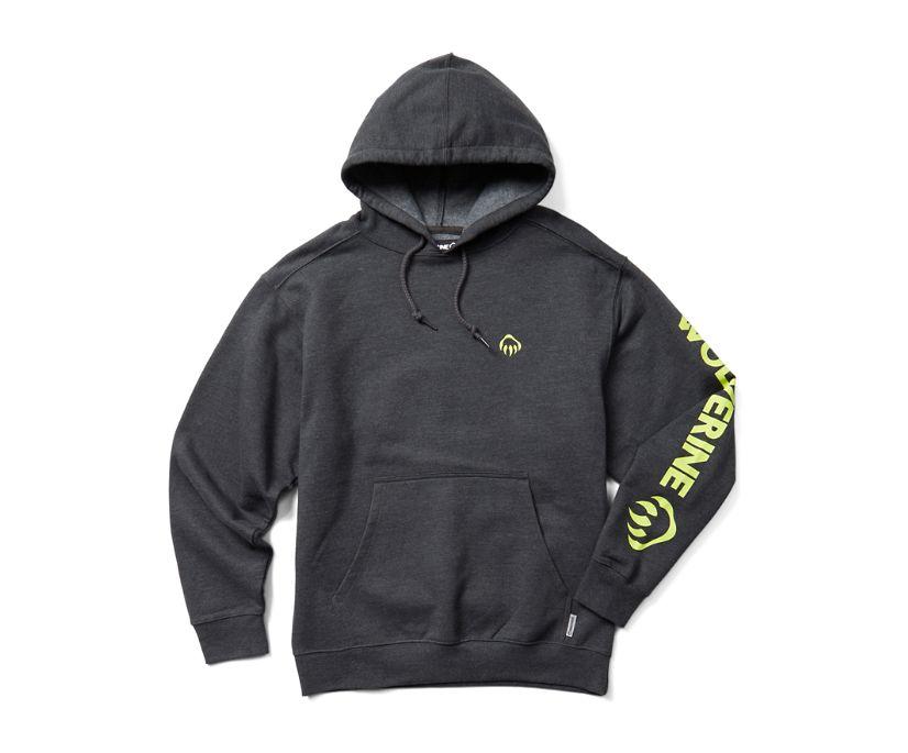 Graphic Hoody- Sleeve Logo, Onyx Heather, dynamic