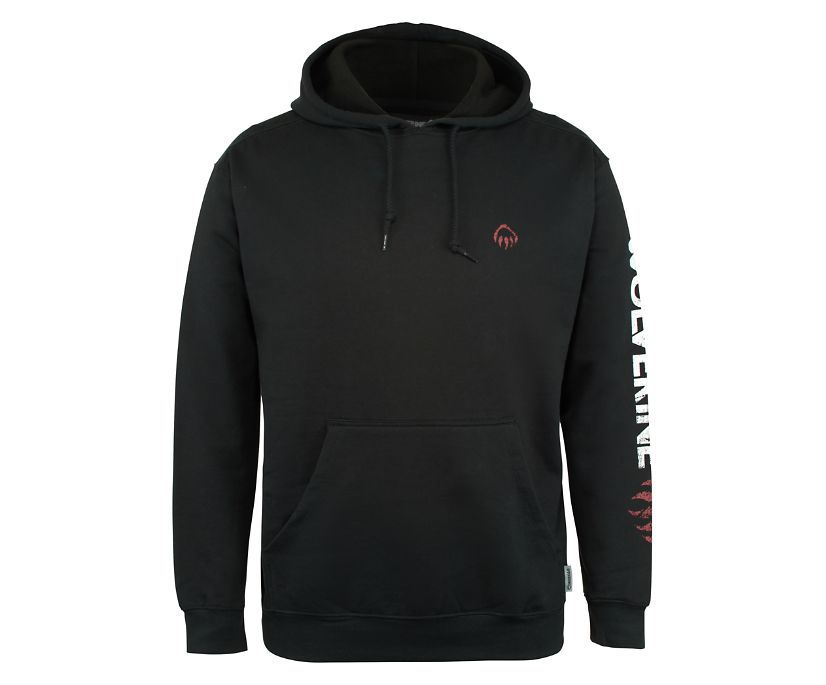 Graphic Hoody- Distressed Logo, Black, dynamic