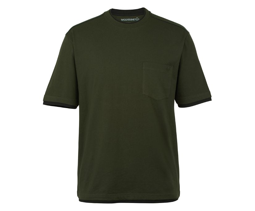 Miter Short Sleeve Tee, Olive, dynamic