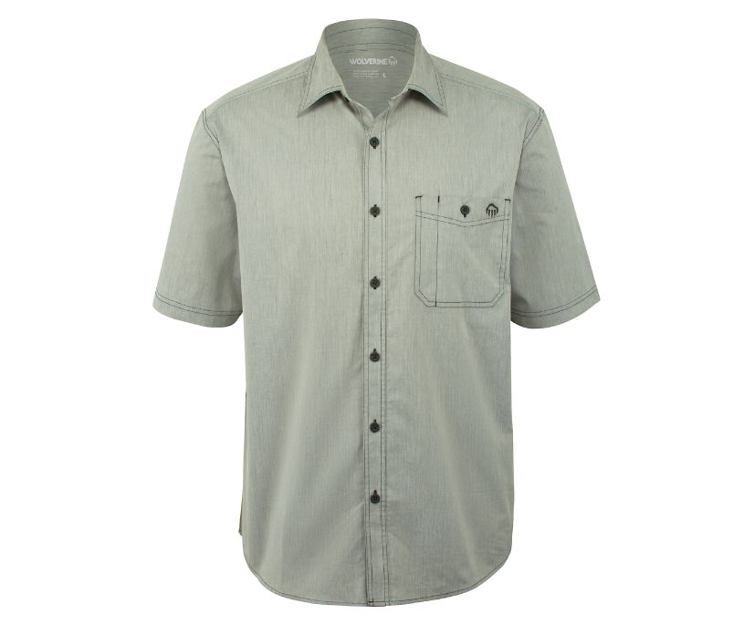 Grayson Short Sleeve Shirt, Gray Chambray, dynamic