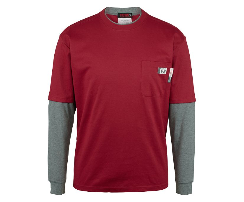 FR Miter Long Sleeve Tee, Dark Red, dynamic