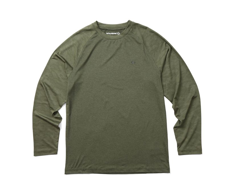 Sun Stop Long Sleeve Crew, Green Camo, dynamic
