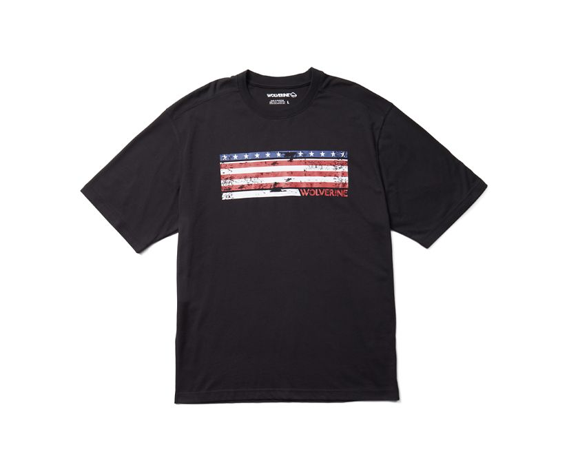 Short Sleeve Graphic Tee - Chest Graphic, Black, dynamic