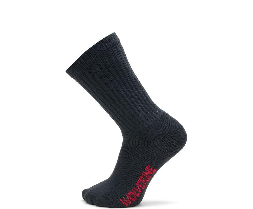 4-pk. Full Cushion Cotton Crew Sock, Black, dynamic