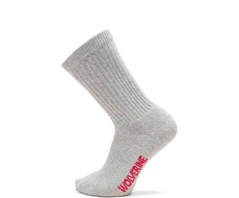 4-pk. Full Cushion Cotton Crew Sock, Grey, dynamic