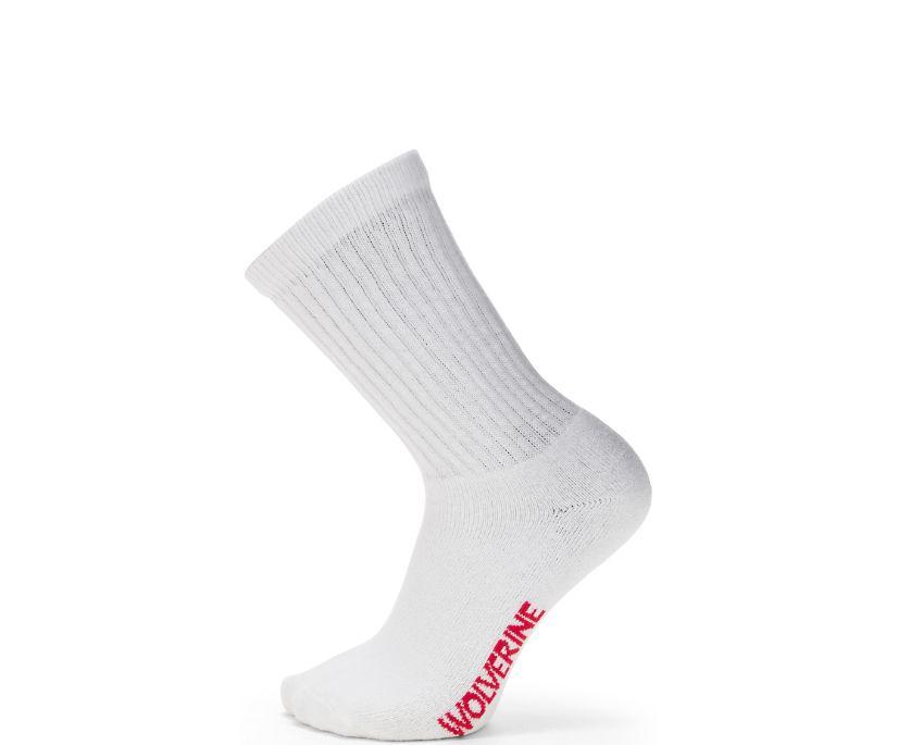4-pk. Full Cushion Cotton Crew Sock, White, dynamic