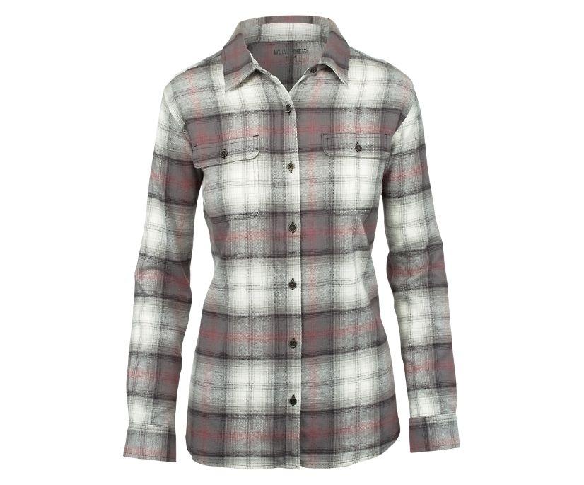 Long Sleeve Aurora Flannel, Dark Grey Plaid, dynamic