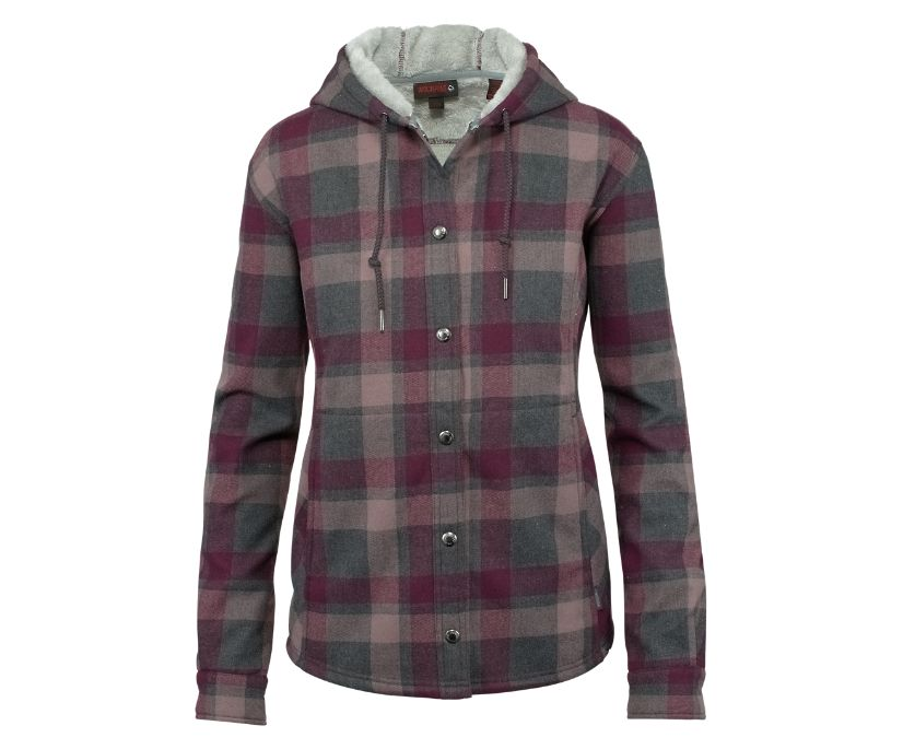 CHEYENNE BONDED SHERPA SHIRT JAC, Peppercorn Plaid, dynamic