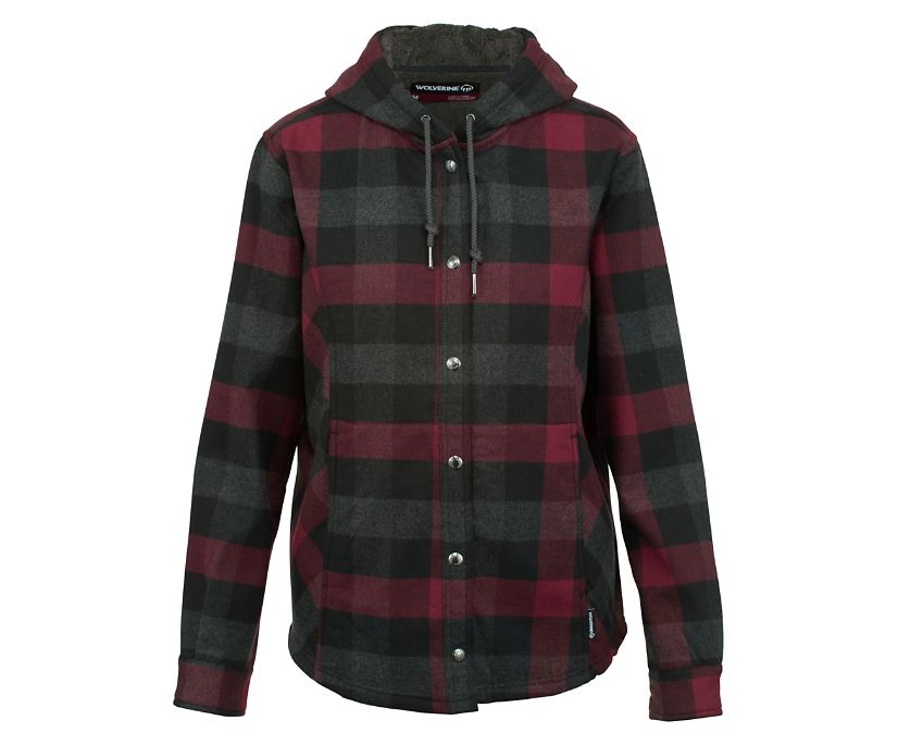 CHEYENNE BONDED SHERPA SHIRT JAC, Cranberry Plaid, dynamic