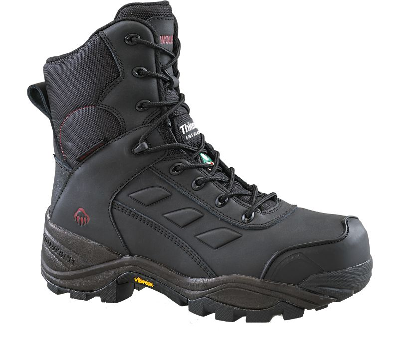 """Growler CSA Composite Toe Insulated Waterproof 8"""" Work Boot, Black, dynamic"""