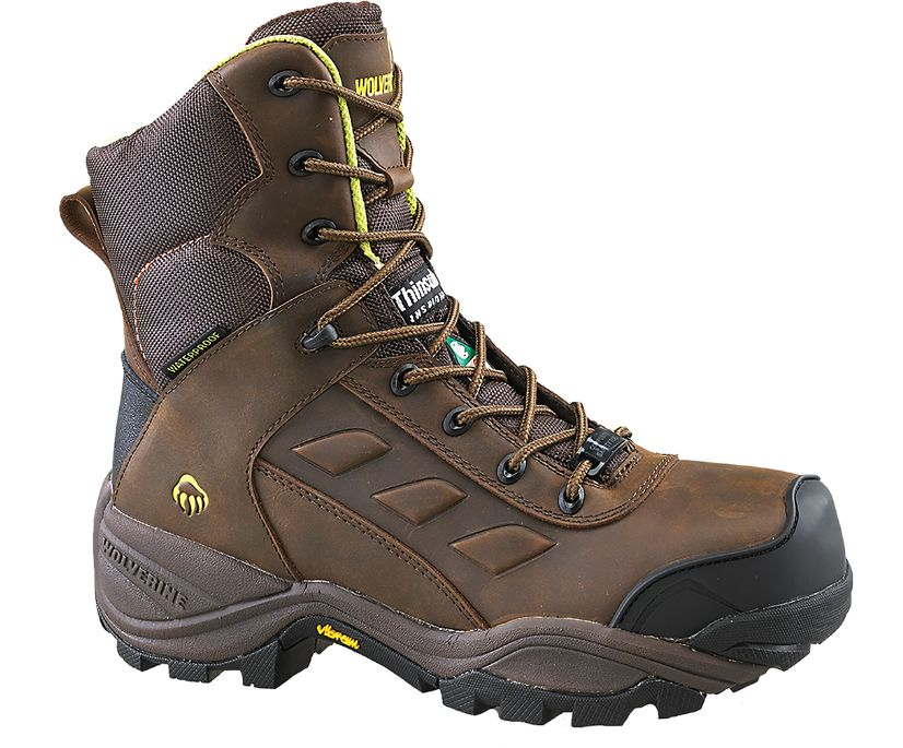 """Growler CSA Composite Toe Insulated Waterproof 8"""" Work Boot, Brown, dynamic"""