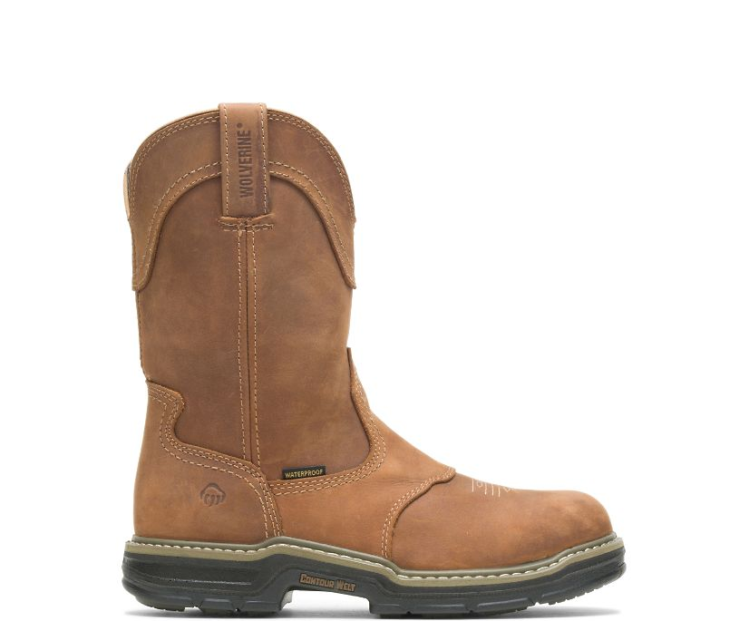 Anthem Western Wellington Steel-Toe Work Boot, Brown, dynamic
