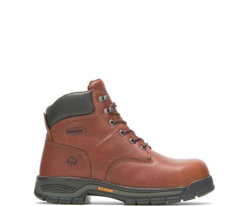 "Harrison Lace-Up Steel-Toe 6"" Work Boot, Brown, dynamic"