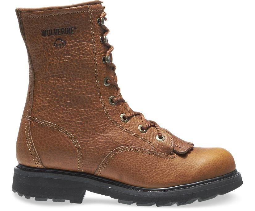 "Herrin 8"" Steel-Toe Kiltie Lacer Work Boot, Brown, dynamic"