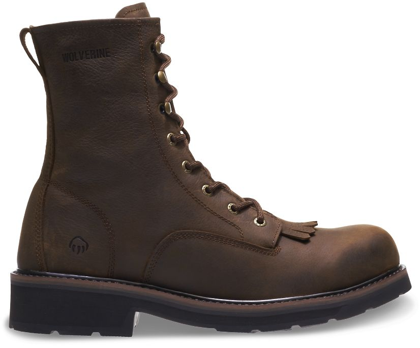"Ranchero 8"" Kiltie Steel Toe Boot, Brown, dynamic"