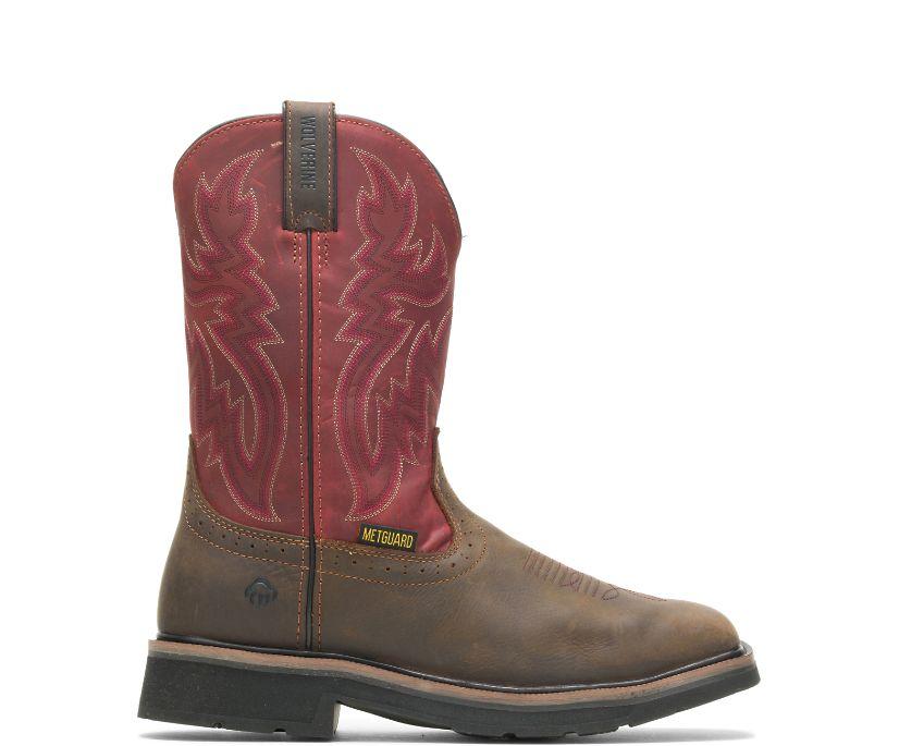Rancher Met Guard Steel-Toe Wellington, Brown/Red, dynamic