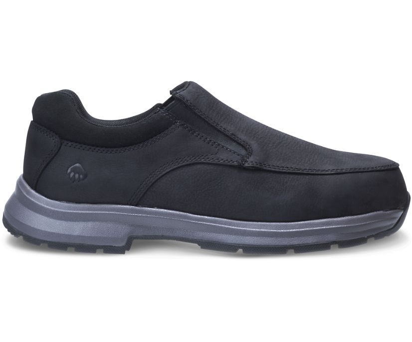Logan Steel Toe Slip On Shoe, Black, dynamic