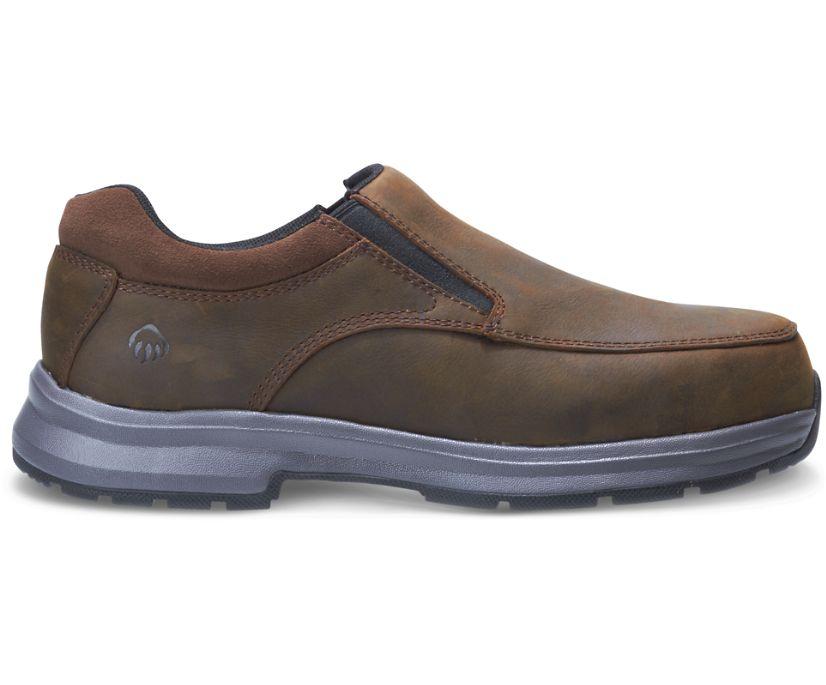 Logan Steel Toe Slip On Shoe, Brown, dynamic