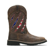 Rancher Claw Steel Toe Wellington, Brown/Flag, dynamic