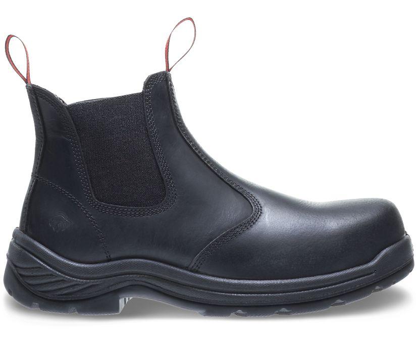 Stud II Steel Toe Pull-On Boot, Black, dynamic
