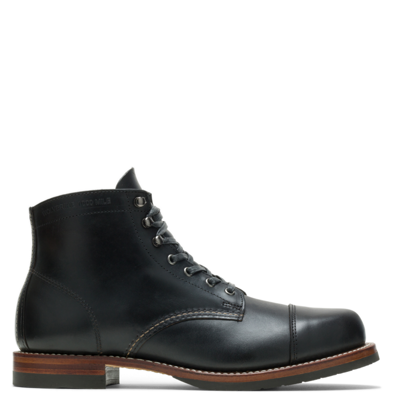 1920s Style Mens Shoes | Peaky Blinders Boots Wolverine Mens 1000 Mile Cap-Toe Classic Boot Black Size 13 $385.00 AT vintagedancer.com