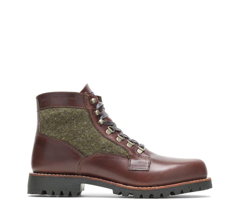 Faribault x 1000 Mile Plain-Toe Rugged Boot, Brown/Green, dynamic