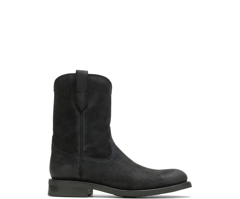 BLVD Pull-On Boot, Rugged Leather Black, dynamic