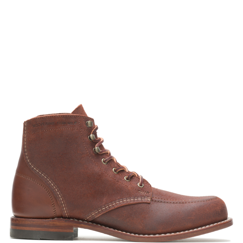 1920s Style Mens Shoes | Peaky Blinders Boots Wolverine Mens Path Less Traveled - 1000 Mile Moc-Toe Original Boot Cobblestone Size 13 $415.00 AT vintagedancer.com