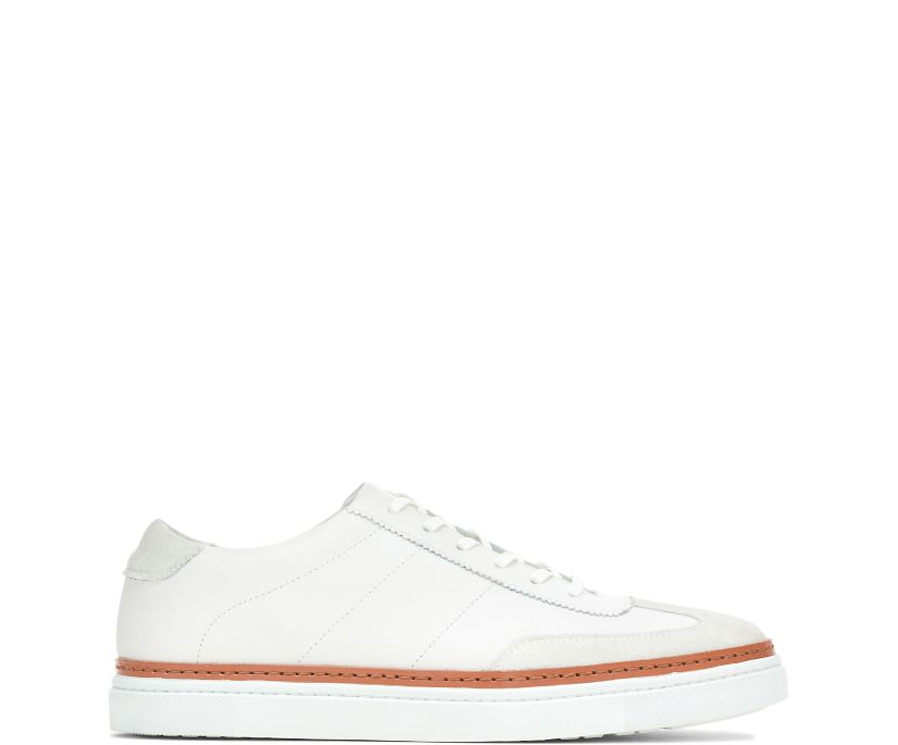 BLVD Court Sneaker, White Leather/Stone Suede, dynamic