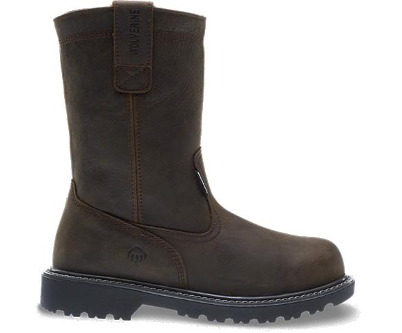 """Floorhand Waterproof Steel-Toe 10"""" Wellington, Dark Brown, dynamic"""