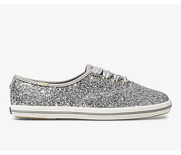 Keds x kate spade new york Champion Glitter, Silver Glitter, dynamic