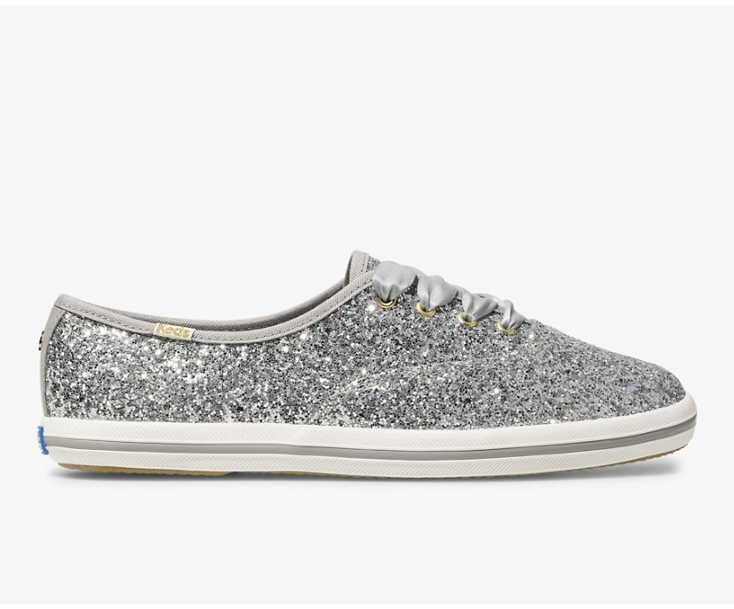 Keds x kate spade new york Champion Glitter, Silver Glitter, dynamic