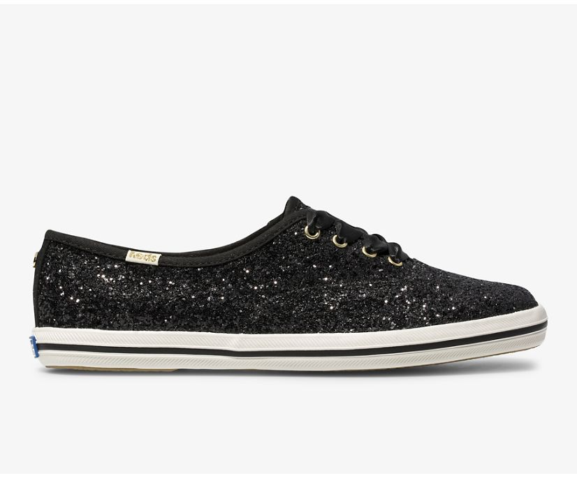 Keds x kate spade new york Champion Glitter, Black Glitter, dynamic