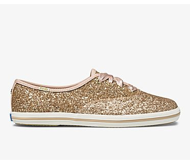 Keds x kate spade new york Champion Glitter, Rose Gold Glitter, dynamic