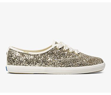 Keds x kate spade new york Champion Glitter, Platinum Gold, dynamic