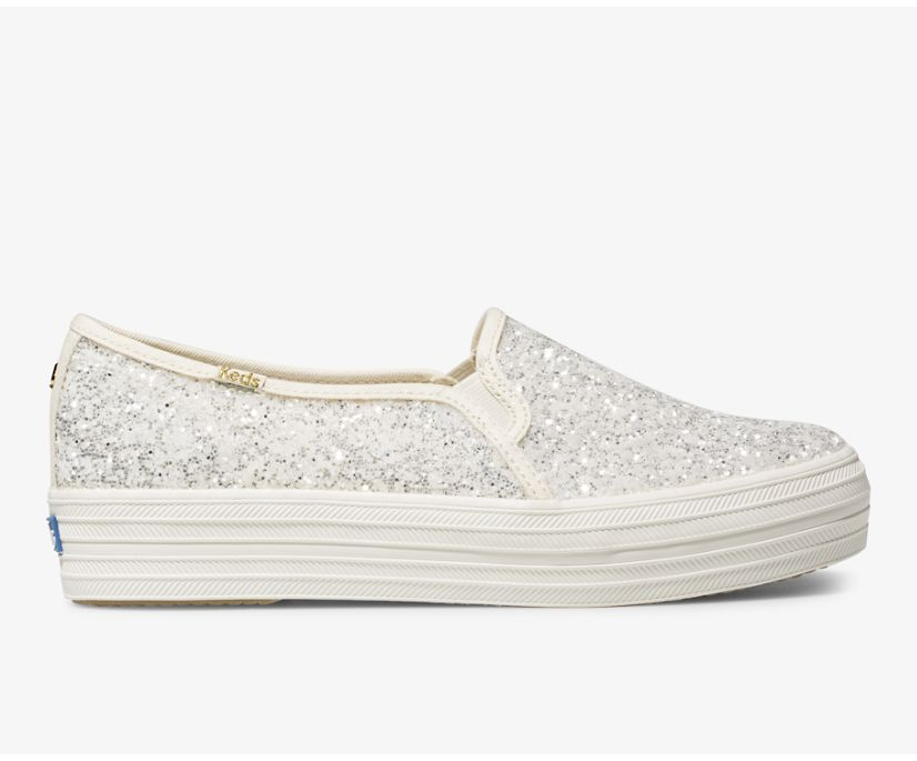 Keds x kate spade new york Triple Decker Glitter, Cream, dynamic