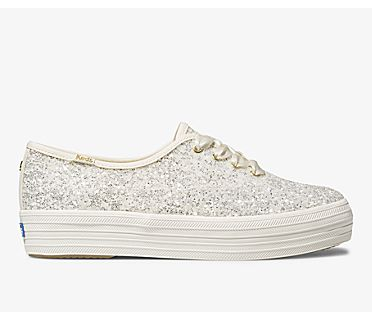 Keds x kate spade new york Triple Glitter, Cream, dynamic