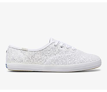 Keds x kate spade new york Champion Glitter, White, dynamic