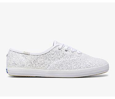 Keds x kate spade new york Champion Glitter, White, dynamic