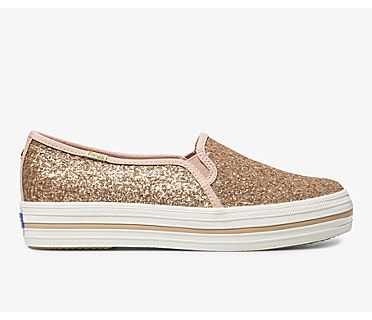 Keds x kate spade new york Triple Decker Glitter, Rose Gold, dynamic