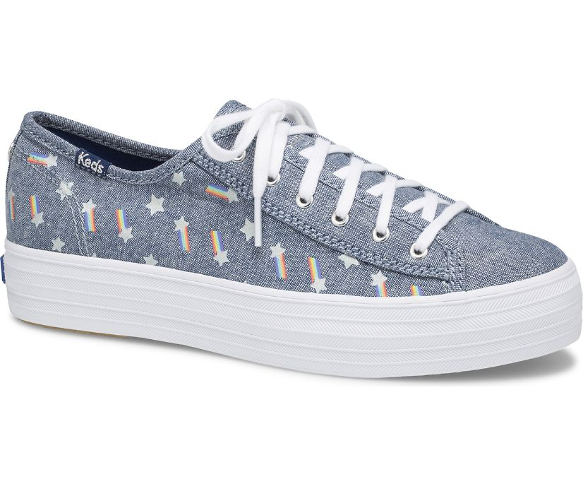 Keds X SUNNYLIFE Triple Kick Rainbow, Blue Multi, dynamic