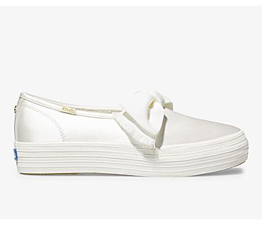 Keds x kate spade new york Triple Decker Satin Bow, Cream, dynamic