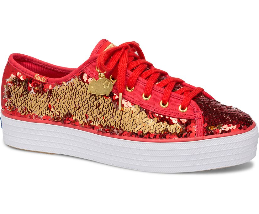 Triple Kick CNY Reverse Sequins, Red Gold, dynamic