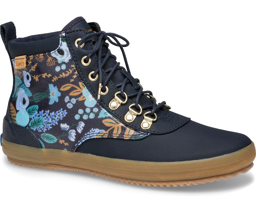 Keds x Rifle Paper Co. Scout Water-Resistant Boot Garden Party, Navy Multi, dynamic