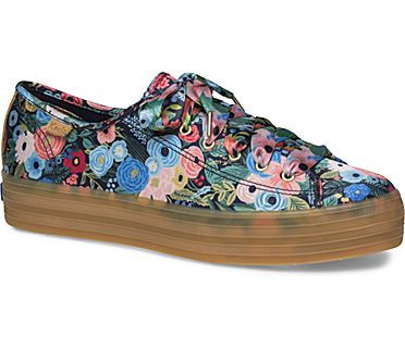 Keds x Rifle Paper Co. Triple Kick Garden Party, Navy Multi, dynamic