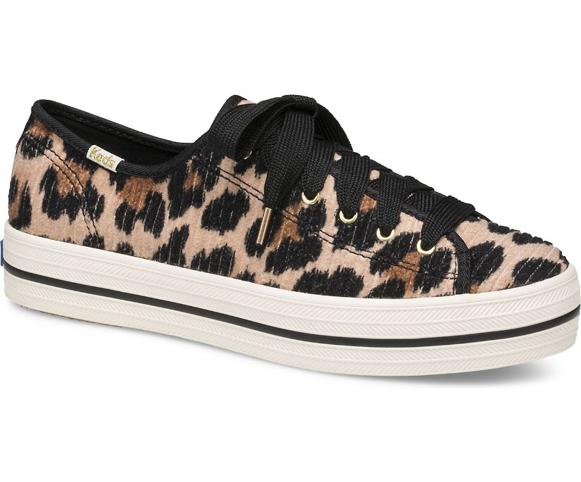 Keds x kate spade new york Triple Kick Leopard Corduroy, Leopard, dynamic