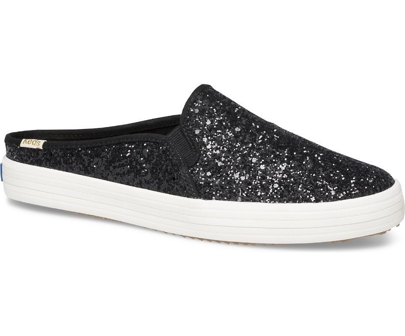 Keds x kate spade new york Double Decker Mule Glitter, Black, dynamic