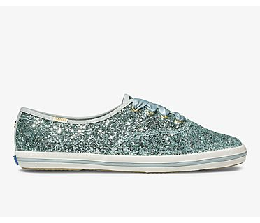 Keds x kate spade new york Champion Glitter, Light Blue, dynamic