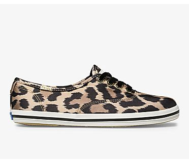 Keds x kate spade new york Champion Leopard Satin, Tan Multi, dynamic