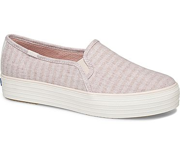 Triple Decker Subtle Chambray Stripe, Rose, dynamic
